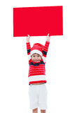 Christmas boy with empty banner Stock Photography