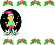 Christmas Boy and Floral Frame Royalty Free Stock Image