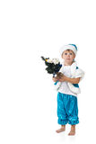 Christmas boy holding small decorated fir tree Stock Image