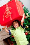 Christmas boy with money Royalty Free Stock Images