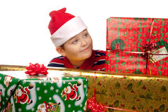 Christmas boy and present Royalty Free Stock Photos