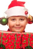Christmas boy with santa hat Royalty Free Stock Photo