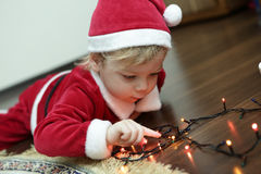 Christmas boy in santa hat Royalty Free Stock Photos