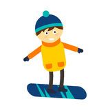 Christmas boy snowboarding playing winter game happy leisure vector illustration. Cartoon new year holidays funny lifestyle. Snow boarding down person extreme Stock Image