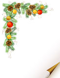 Christmas  branch. Christmas background with fir tree, cones and evening balls formed corner Stock Photography
