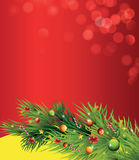 Christmas branch. Festive card with a Christmas branch and fir-tree ornaments Royalty Free Stock Images