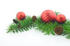 Christmas branch with ball Royalty Free Stock Photos