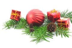 Christmas branch with ball Royalty Free Stock Photography