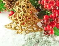Christmas branch of berries with a gold fur-tree Stock Photos