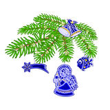 Christmas branch with blue faience decorations vector. Christmas decoration branch with blue faience decorations background vector illustration Stock Photos