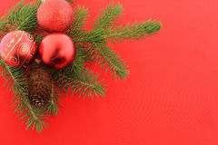 Christmas branch fur-tree with red bolls Stock Photos