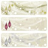 Christmas branch with glossy glass balls banner Stock Image