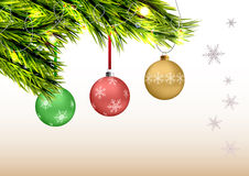 Christmas branch with hanging ball Stock Photo