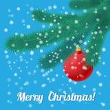 Christmas branch with hanging christmas ball. Vector illustration  of Christmas branch with hanging christmas ball. Retro Royalty Free Stock Photos