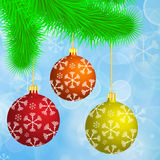 Christmas branch with hanging christmas balls on the blue bokeh Royalty Free Stock Images