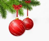 Christmas branch with hanging Christmas balls Royalty Free Stock Photo