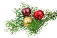 Christmas branch tree with decoration Royalty Free Stock Photography