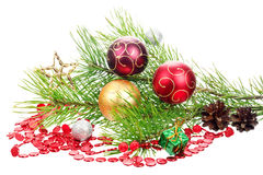 Christmas branch tree with decoration Royalty Free Stock Photos