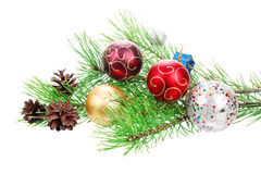 Christmas branch tree with decoration Stock Photos