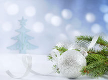 Christmas branch of tree ribbon and bauble Stock Images