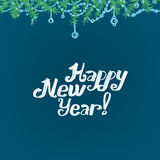 Christmas branches background. The illustration of blue Background with new year branches. Vector image Royalty Free Stock Photos