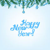 Christmas branches background. The illustration of blue Background with new year branches. Vector image Stock Image