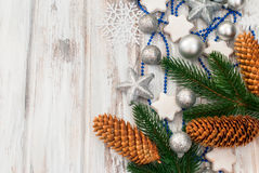 Christmas branches, balls, beads, cones, Christmas decorations Stock Images