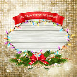 Christmas Branches with golden baubles. EPS 10 Royalty Free Stock Photo