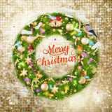 Christmas Branches with golden baubles. EPS 10 Stock Photo
