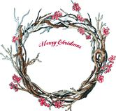 Christmas wreath on white. Vector Hand drawn sketch. Christmas branches wreath on white. Vector Hand drawn sketch royalty free illustration