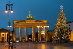 Christmas at the Brandenburg Gate in Berlin, Germany stock photography