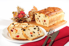 Christmas bread. Stuffed baked bread with candy Royalty Free Stock Images