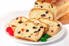 Christmas bread. Stuffed baked bread with candy Stock Photo