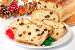Christmas bread. Stuffed baked bread with candy Stock Image