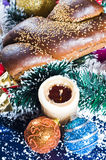 Christmas bread and decoration Stock Photography