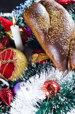 Christmas bread and ornaments Royalty Free Stock Image