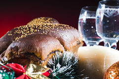 Christmas bread and wine Royalty Free Stock Photo
