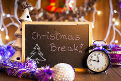 Christmas break written on the black chalkboard Stock Photo
