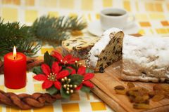 Christmas breakfast and advent wreat Royalty Free Stock Images