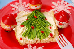 Christmas breakfast for child Royalty Free Stock Image