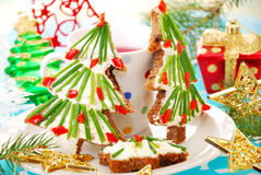 Christmas breakfast for child Royalty Free Stock Images
