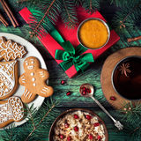 Christmas breakfast with cookies, porridge and tea royalty free stock photo