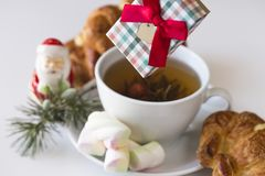 Christmas breakfast with gift. stock photo