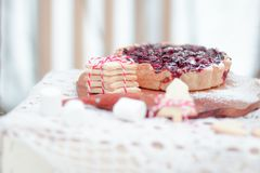 Christmas breakfast serving suggestion with berry pie and cookies. Christmas breakfast serving suggestion with berry pie and homemade cookies Stock Images