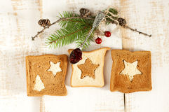 Christmas breakfast. Slice toast bread Stock Image