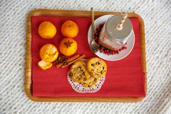 Christmas breakfast. tray with mandarins, cocoa, cookies Stock Image