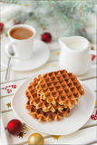 Christmas breakfast. Viennese wafer biscuit and coffee with milk Royalty Free Stock Photos