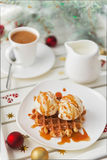 Christmas breakfast. Viennese wafer biscuit and coffee with milk Royalty Free Stock Image