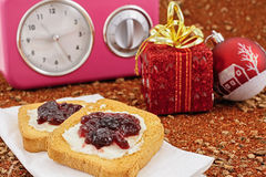 Christmas breakfast and watch Stock Photo