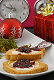 Christmas breakfast and watch Royalty Free Stock Photo